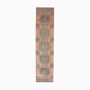 2x10 Vintage Turkish Oushak Handmade Wool Floral Runner Rug