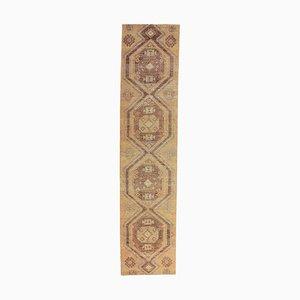 3x11 Türkischer Vintage Oushak Handgewebter Teppich aus Wolle