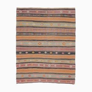 Handgefertigter türkischer Vintage 6 × 7 Oushak Kelim Wollteppich aus Wolle