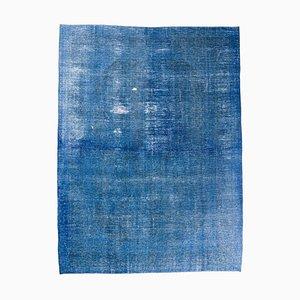 Tappeto vintage blu notte 9x13 in lana fatta a mano, Turchia