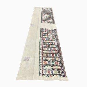 Handgeknüpfter türkischer Vintage 2x10 Ouschak Kelim Läufer aus Wolle