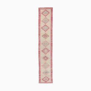 2x13 Türkischer Vintage Oushak Teppich aus Wolle in Rosa