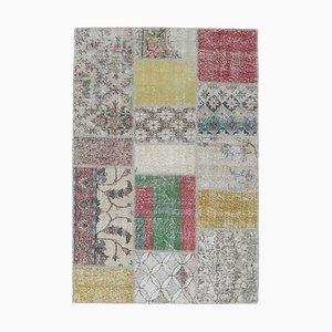 4x6 Vintage Turkish Oushak Handmade Wool Patchwork Rug
