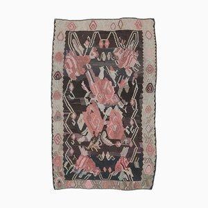 Handgeknüpfter türkischer Vintage 5x7 Oushak Kelim Teppich aus roter Wolle