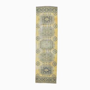 3x10 Vintage Turkish Oushak Handmade Yellow Wool Runner Rug