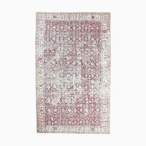 Türkischer türkiser Vintage 6x10 Ouschak Teppich mit floralen Motiven