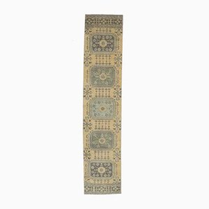 2x11 Vintage Turkish Oushak Handmade Yellow Wool Runner Rug