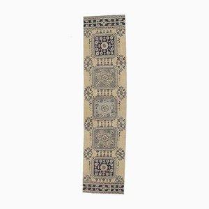 Tappeto 2x11 vintage a forma di tappeto Oushak floreale fatto a mano, Turchia