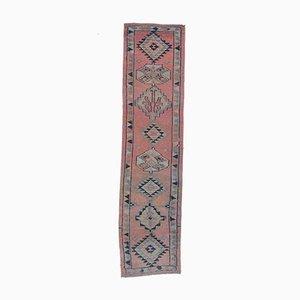 Tappeto Oushak vintage in lana rosa 3x11 a mano, Turchia