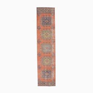 3x12 Türkischer Vintage Oushak Teppich aus Roter Wolle