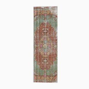 Tappeto Runner 3x10 vintage a forma di tappeto stretto fatto a mano di lana Oushak, Turchia