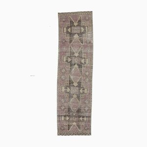 3x10 Türkischer Vintage Oushak Hand-Verknoteter Läufer aus Wolle