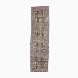 Tappeto Oushak vintage in lana viola intrecciata a mano viola