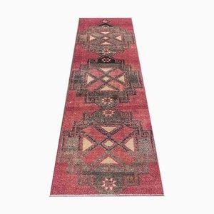 3x8 Vintage Turkish Oushak Handmade Wool Runner Rug in Crimson