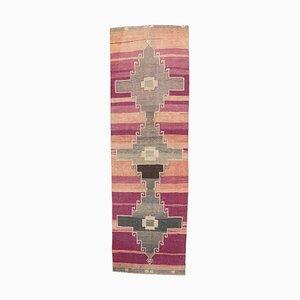 3x11 Türkischer Vintage Oushak Teppich in Lila & Orange von Hand geknüpft
