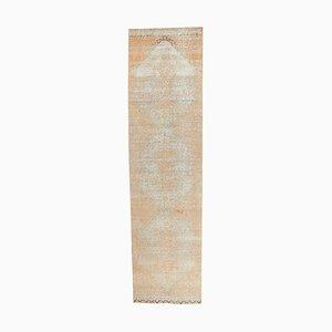 Tappeto da corridore 3US12 vintage fatto a mano di lana Oushak, Turchia
