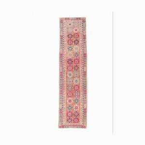 Tappeto Ikat vintage fatto a mano di lana Oushak 3x10
