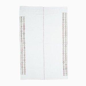 5x7 Vintage Turkish Oushak Handmade Wool Kilim Area Rug in White