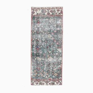 2x5 Vintage Middle East Oushak Handmade Wool Floral Runner Rug