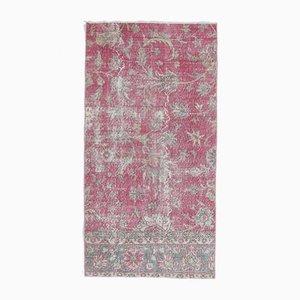 3x5 Vintage Turkish Oushak Handmade Wool Rug in Pink