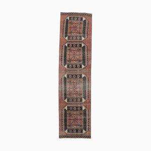 Tappeto Runner Oushak vintage in lana, 3x11 rosso, Turchia