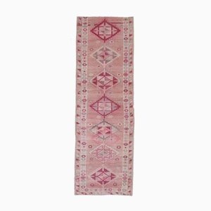 3x9 Vintage Turkish Oushak Hand-Knotted Wool Pink Runner Rug