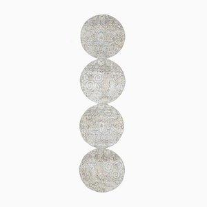 2x9 Vintage Turkish Oushak Handmade Circle Wool Runner Rug