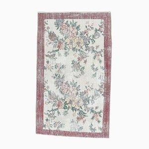 2x4 Vintage Turkish Oushak Handmade Floral Beige Wool Runner Rug