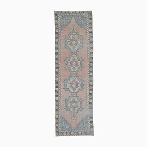 3x9 Vintage Turkish Oushak Handmade Wool Faded Rug