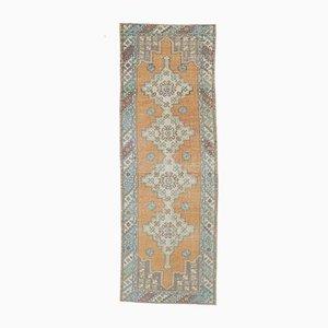 Tappeto da corridore 3US9 vintage fatto a mano di lana Oushak, Turchia