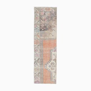 1x5 Vintage Turkish Oushak Narrow Handmade Wool Rug