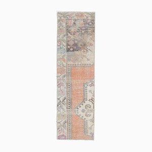 Türkischer Vintage Oushak 1x5 Handgewollter schmaler Teppich aus Wolle