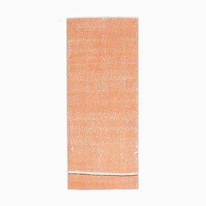 2x5 Vintage Turkish Oushak Handmade Orange Wool Runner Rug