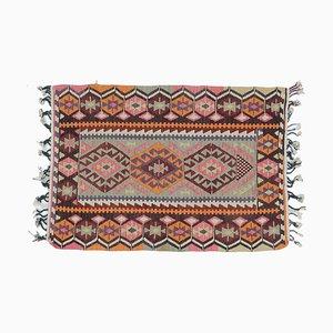 3x4 Vintage Türkisch Kilim Oushak Handgewebter Flachgewebe Teppich aus Baumwolle in Mini Optik
