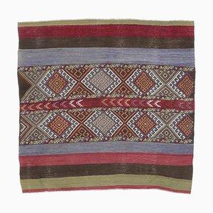 4x4 Türkischer Vintage Oushak Teppich oder Kleiner Viereckiger Teppich