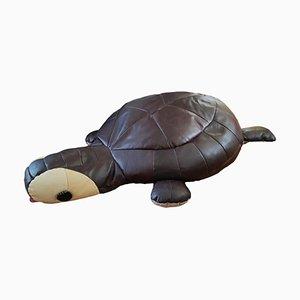 Pouf grande patchwork in pelle tartaruga, anni '70