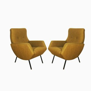 Mustard Italian Armchairs, 1960s, Set of 2