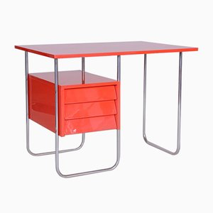 Roter Tschechischer Schreibtisch aus rotem Funktionalismus, 1940er