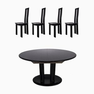 Mid-Century Black Dining Chair & Table in the Style of Pietro Costantini, 1960s, Set of 2