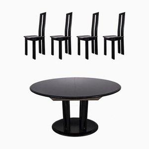 Schwarzer Mid-Century Esszimmerstuhl & Tisch im Stile von Pietro Costantini, 1960er, 2er Set