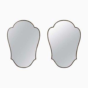 Italian Brass Shield Mirrors, 1950s, Set of 2