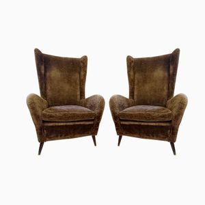 Italian Winged Back Armchairs, 1950s, Set of 2