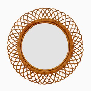 French Bamboo & Rattan Mirror, 1950s