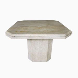 Vintage Italian Octagonal Travertine Coffee Table, 1970s or 1980s