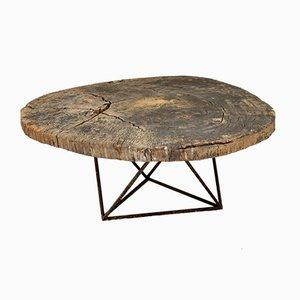 Table Basse Tronc d'Arbre avec Socle Géométrique, 1930s