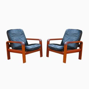 Vintage Scandinavian Teak & Black Leather Armchairs, Set of 2