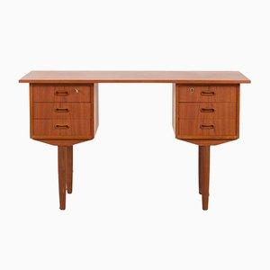 Kleiner Dänischer Mid-Century Teak Schreibtisch mit 6 Schubladen, 1960er