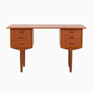 Small Mid-Century Danish Teak Desk with 6 Drawers, 1960s