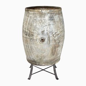 Large Steel Barrel on Stand, 1950s