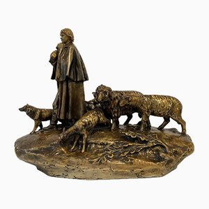 Shepherd with his Flock by Hermann Schubert for Royal Dux, 1916